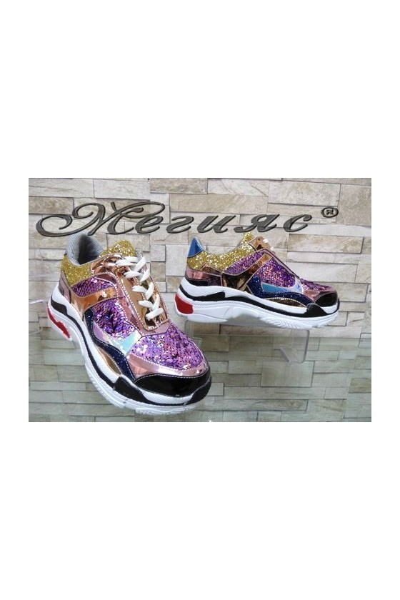 3312 Дамски спортни обувки лилави тип маратонки