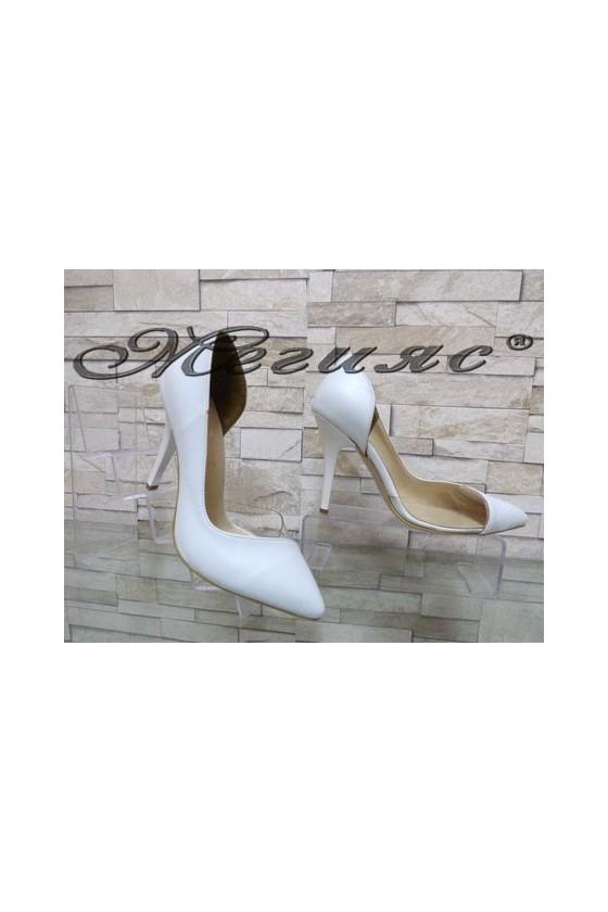 3355 Дамски елегантни обувки бели на висок ток