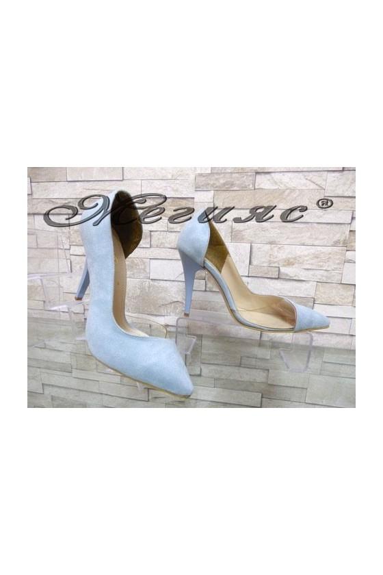 3355 Дамски елегантни обувки сини велур на висок ток