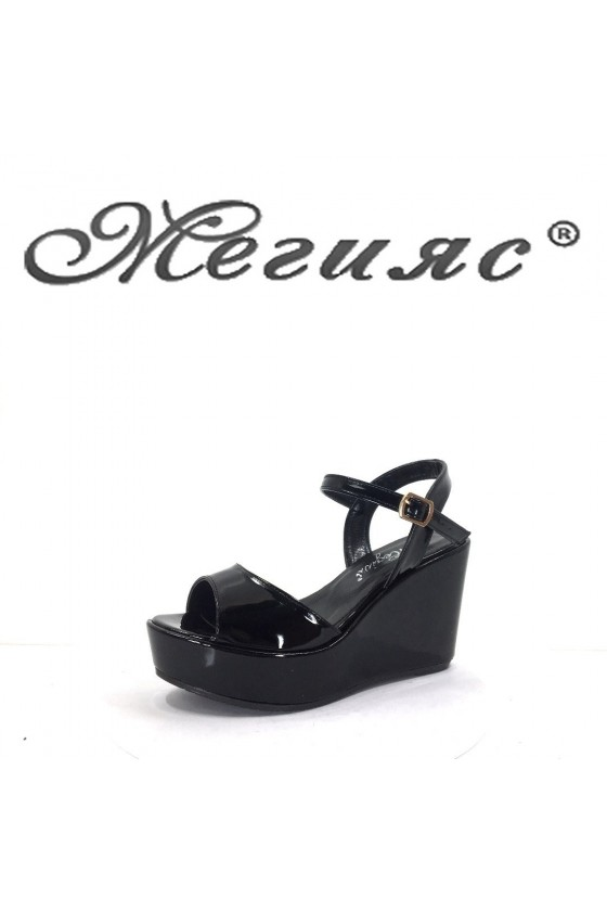1191-303 Дамски сандали  черни на платформа