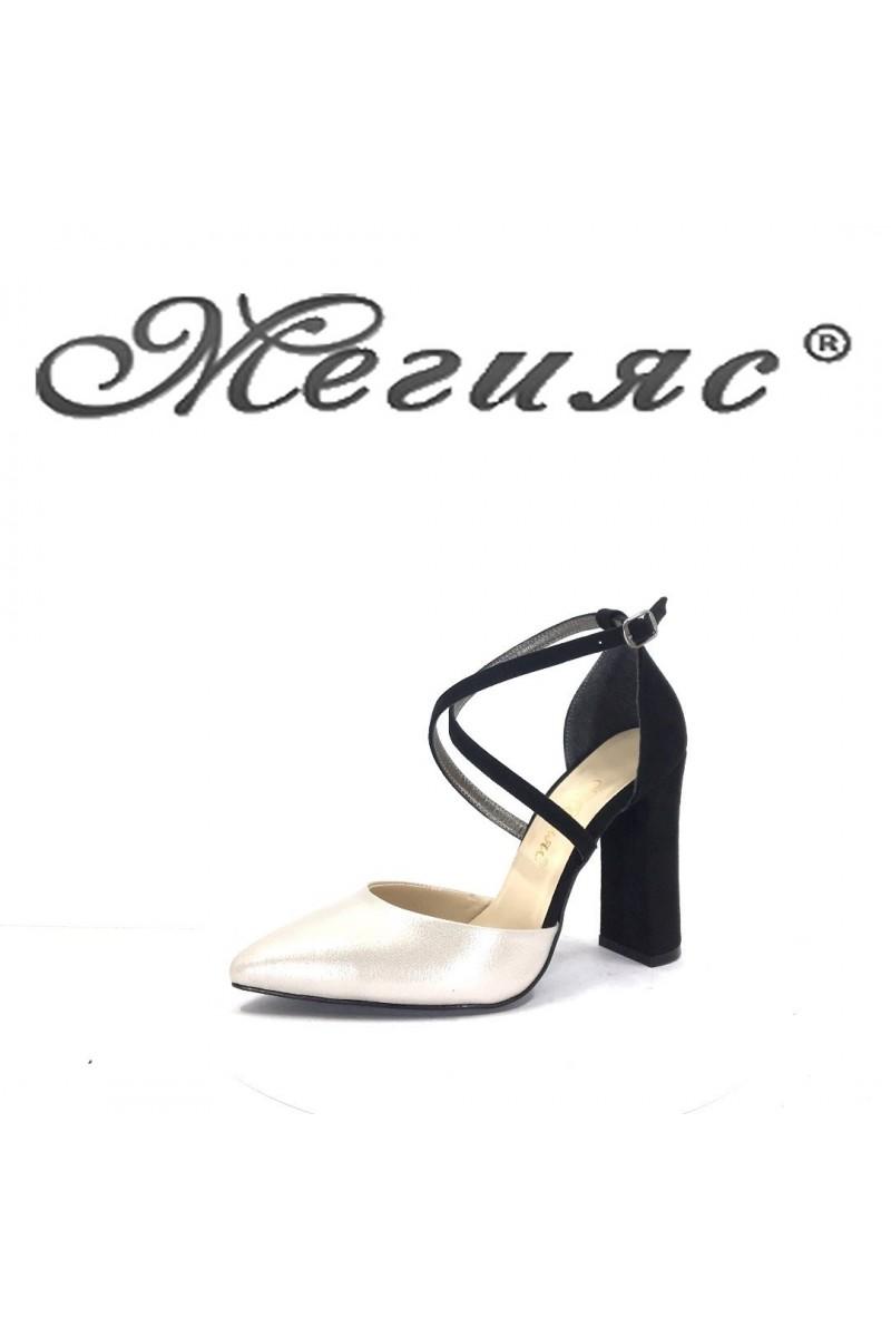 547 Дамски обувки черни със сиво елегантни с широк ток