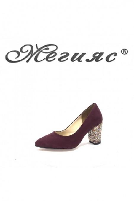 001194 Дамски обувки бордо с брокат елегантни на ток