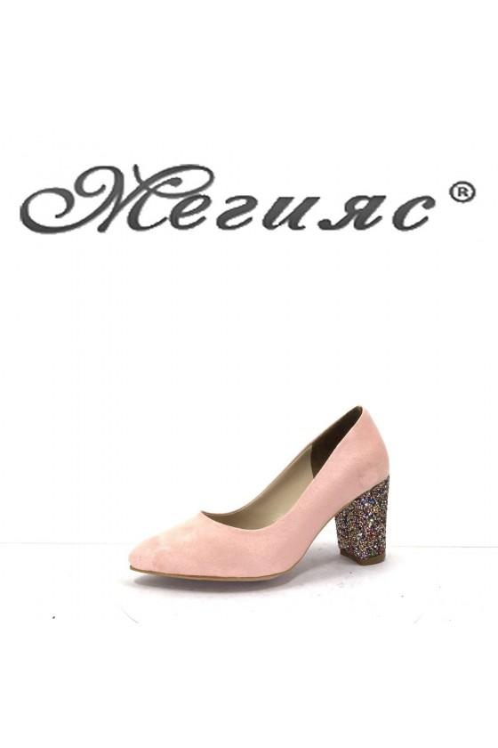 001194 Дамски обувки пудра с брокат елегантни на ток