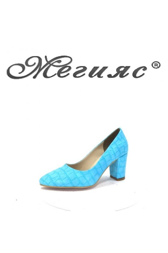 001194 Дамски обувки синя еко кожа елегантни на ток