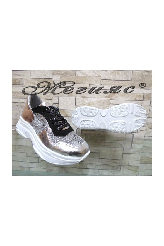 3311 Lady sport shoes silver pu