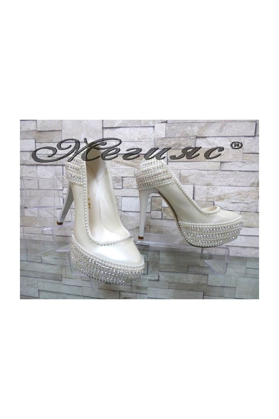 075 Lady elegant shoes white pu