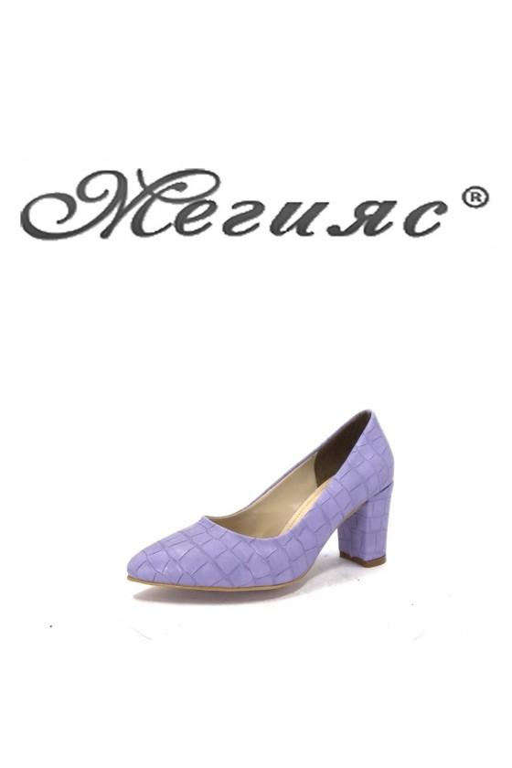 001194 Дамски обувки лилави еко кожа елегантни на ток