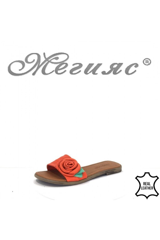 899 Дамски чехли червени ежедневни от естествена кожа