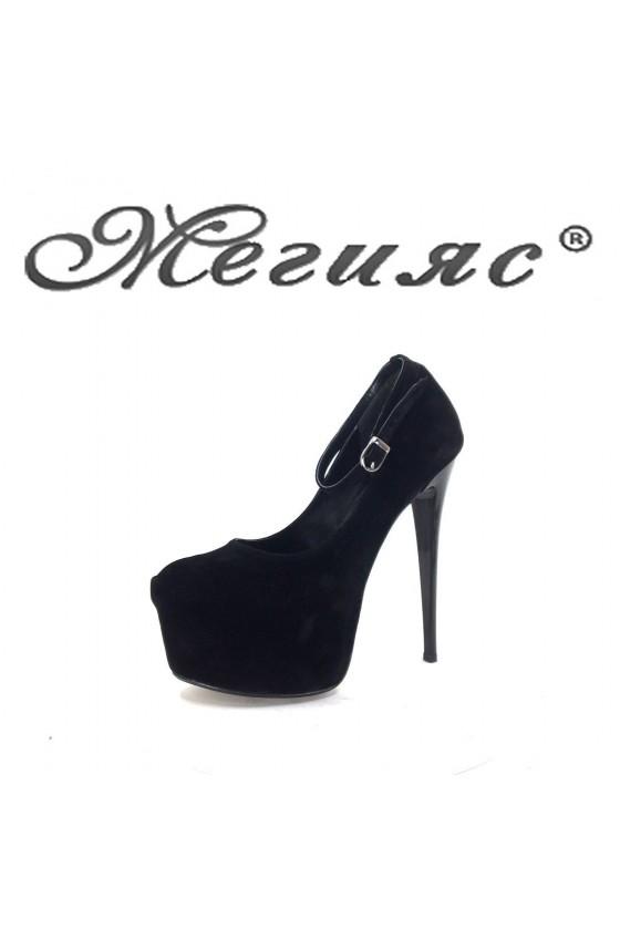 01193 Дамски обувки черни елегантни на висок ток