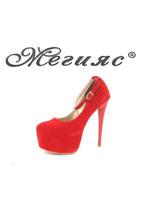 01193 Дамски обувки червен велур елегантни на висок ток