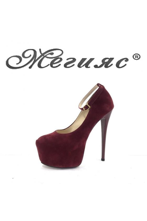 01193 Дамски обувки бордо велур елегантни на висок ток