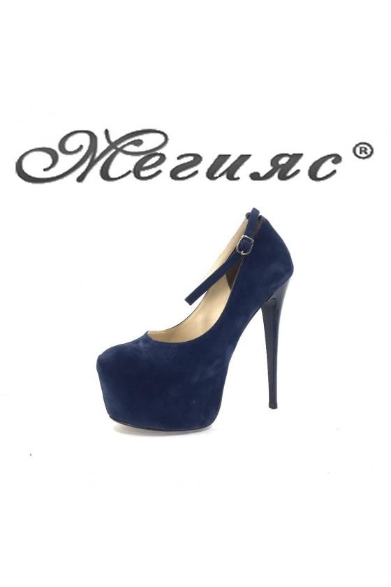 01193 Дамски обувки син велур елегантни на висок ток