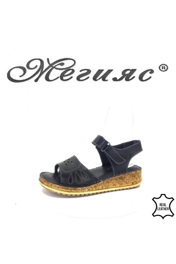 905 Дамски сандали черни ежедневни от естествена кожа