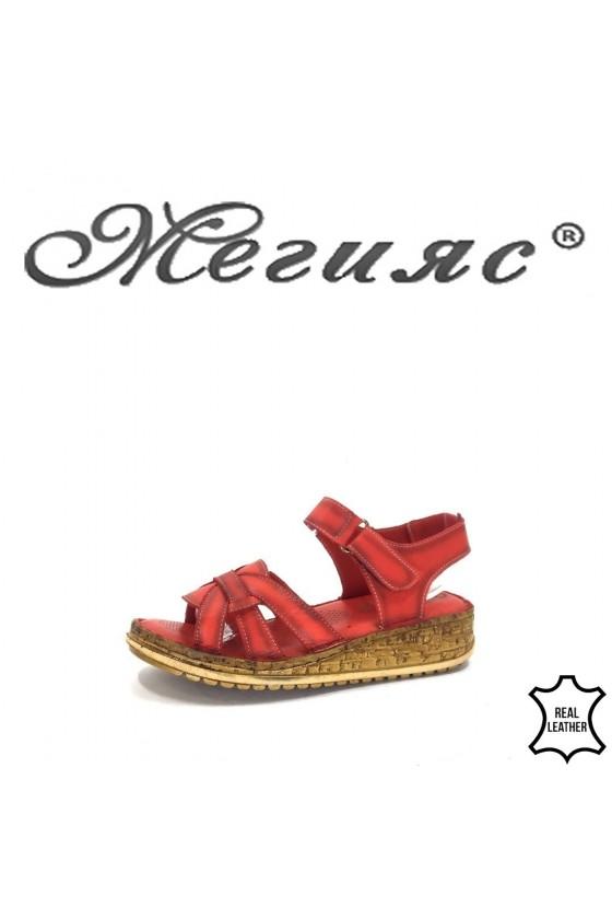 908 Дамски сандали червени ежедневни от естествена кожа