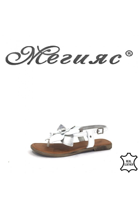 891 Дамски сандали бели ежедневни от естествена кожа