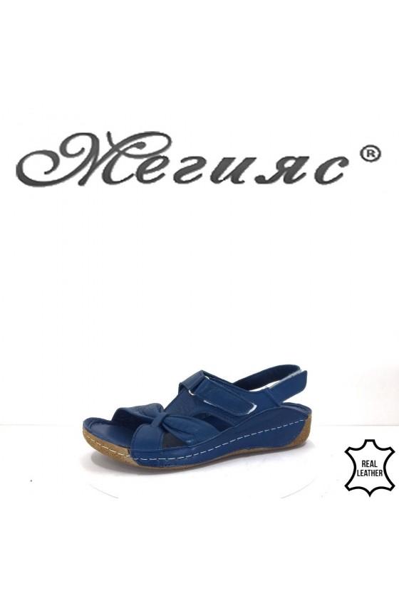 409 Дамски сандали сини ежедневни от естествена кожа