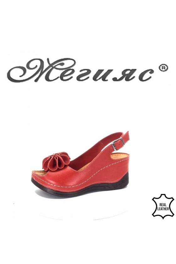 4-145 Дамски сандали гигант червени от естествена кожа на платформа