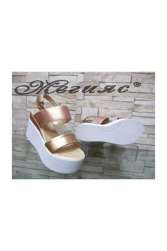 508-3 Women platform sandals pudra pu