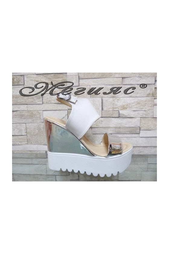 506-K Lady platform sandals white and silver pu