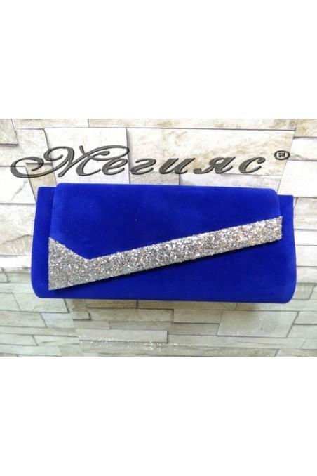 371 Дамска чанта синя от велур