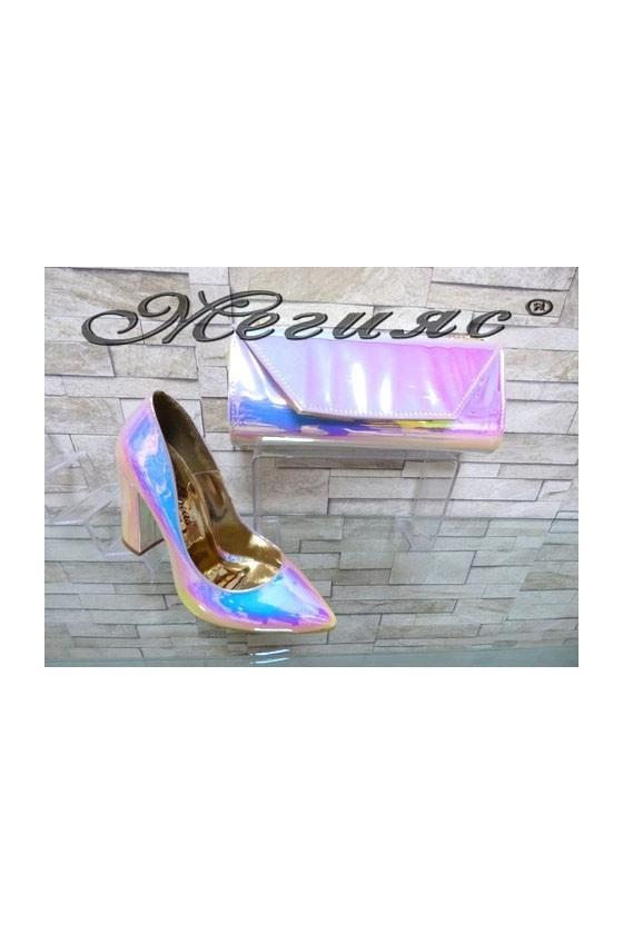 0543 Дамски обувки неон комплект с чанта 1194
