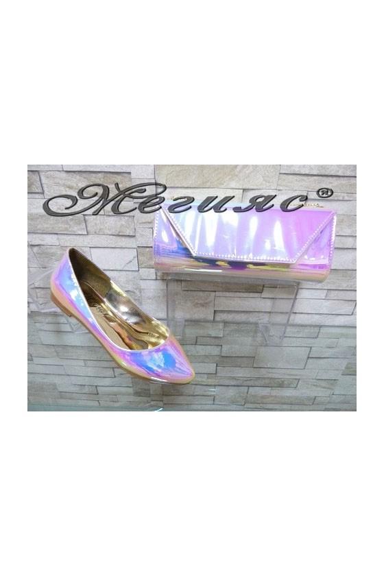 0758 Дамски обувки неон комплект с чанта 1194