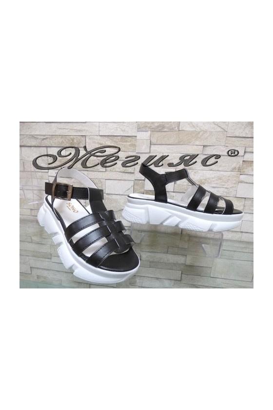 804 Дамски сандали черни от еко кожа