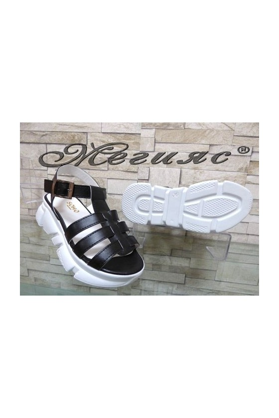 804 Lady sandals black pu