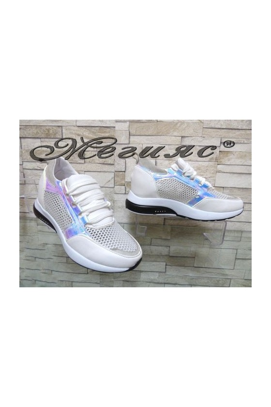 502 Lady sport shoes white pu