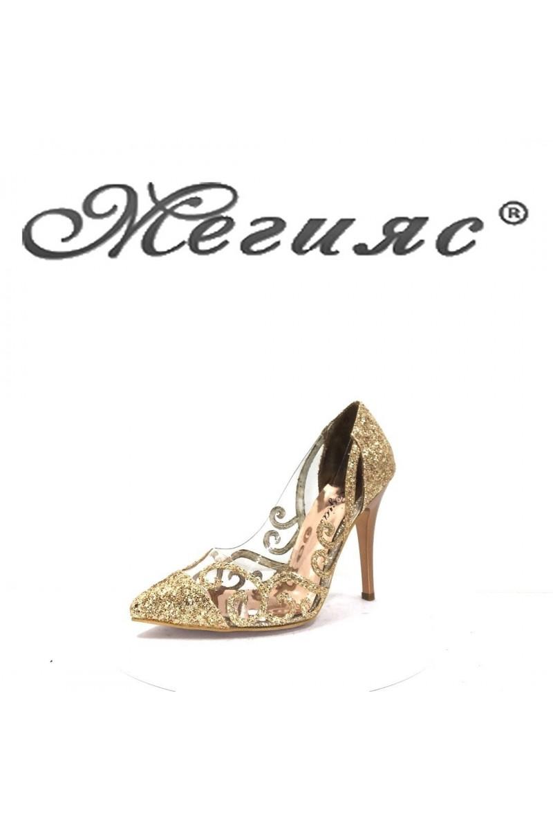 756 Дамски обувки бакър брокат елегантни на висок ток