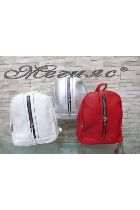 2126 Lady bag white/silver/red pu