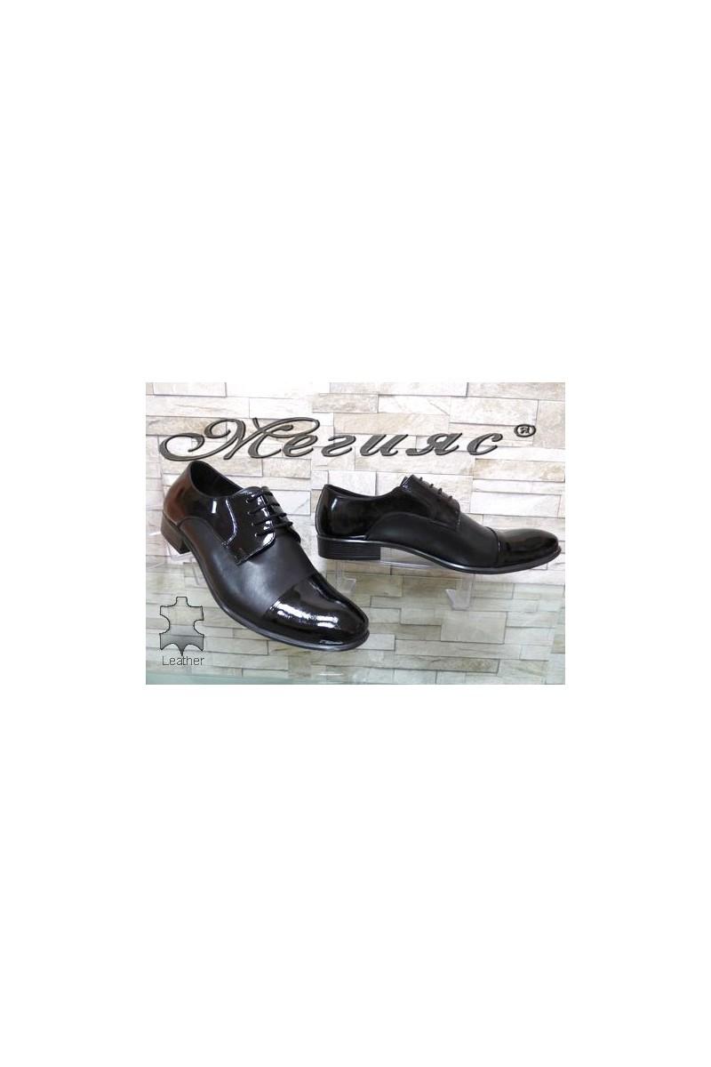 203 XXL Мъжки обувки Фантазия гигант черни с лак от естествена кожа
