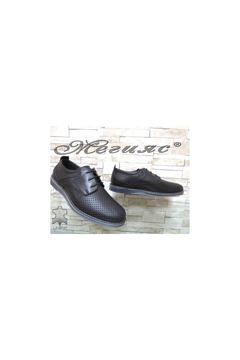 360-1 XXL Мъжки обувки гигант черни от естествена кожа