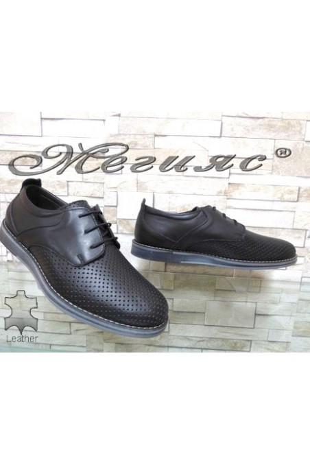 360-1 XXL Мъжки обувки гигант черни мат от естествена кожа