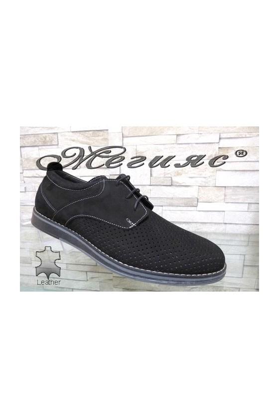 360-1 XXL Мъжки обувки гигант черни набук от естествена кожа