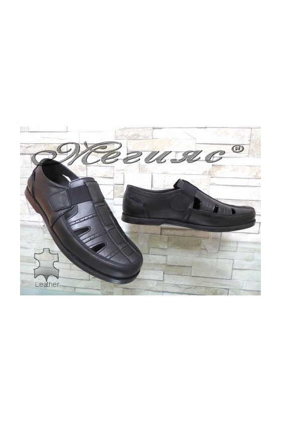 05 XXL Men's sandals black leather