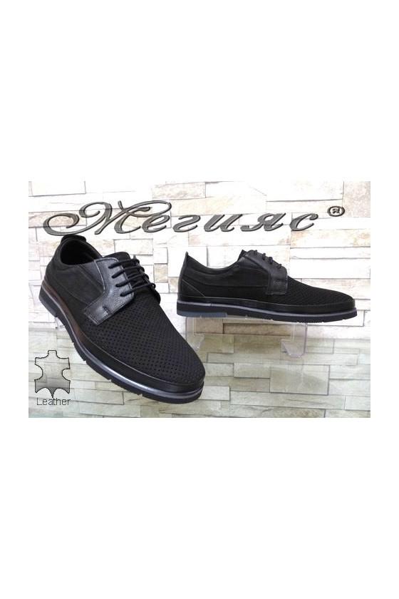 278-020-014 Мъжки обувки Фантазия с перфорация набук черни