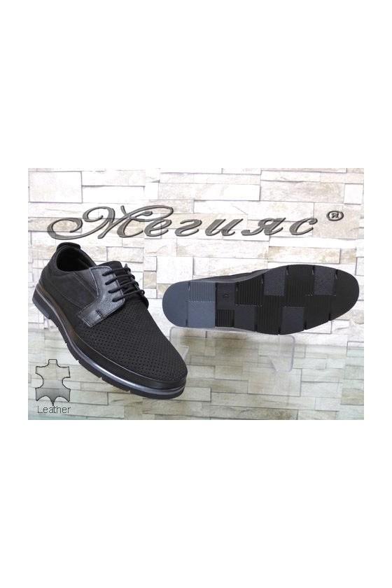 278-020-014 Мъжки обувки Фантазия черни набук  с перфорация набук черни