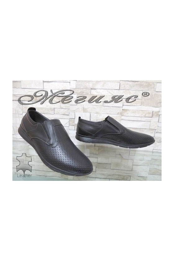 161 XXL Мъжки обувки гигант черни с перфорация от естествена кожа