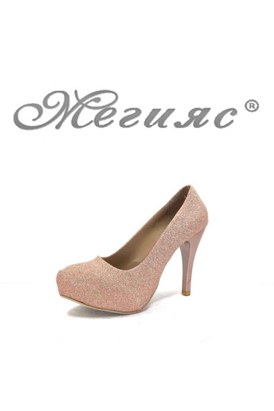 500 Дамски обувки пудра ситно брокат елегантни