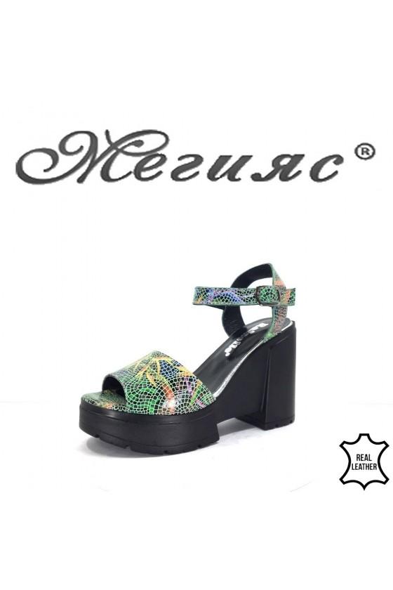 503 Дамски сандали зелени от естествена кожа на платформа
