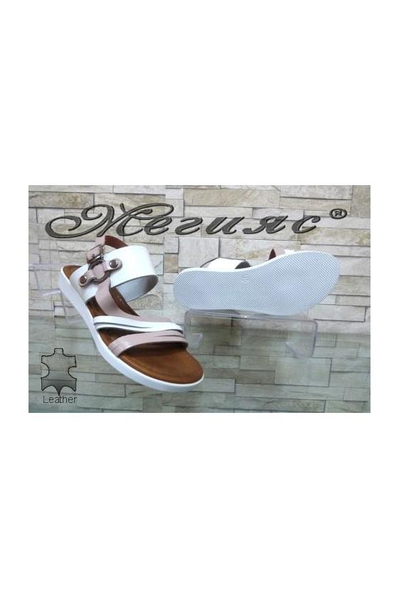 203 Дамски сандали бяло с пудра от естествена кожа