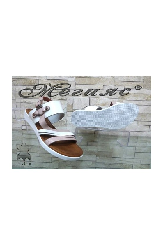 203 Lady sandals white with nude leather