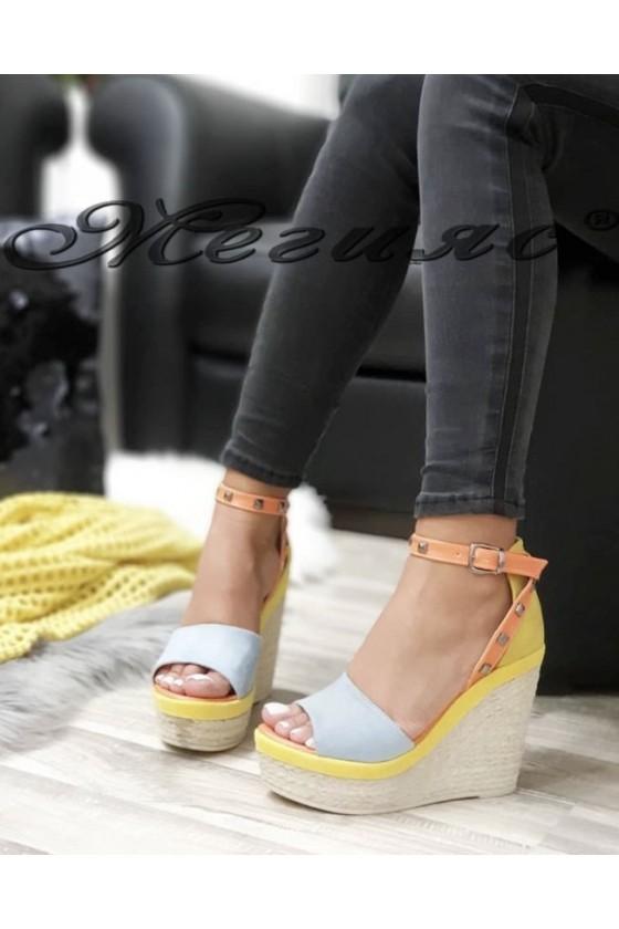 612 Дамски сандали сини на платформа