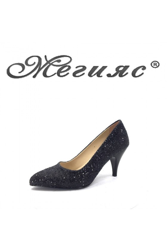 117 Дамски обувки черен брокат елегантни на среден ток