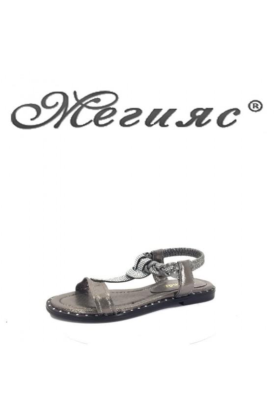 016 Дамски сандали сиви от еко кожа