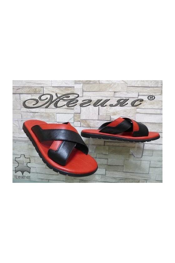 915 Мъжки чехли черни с червено от естествена кожа