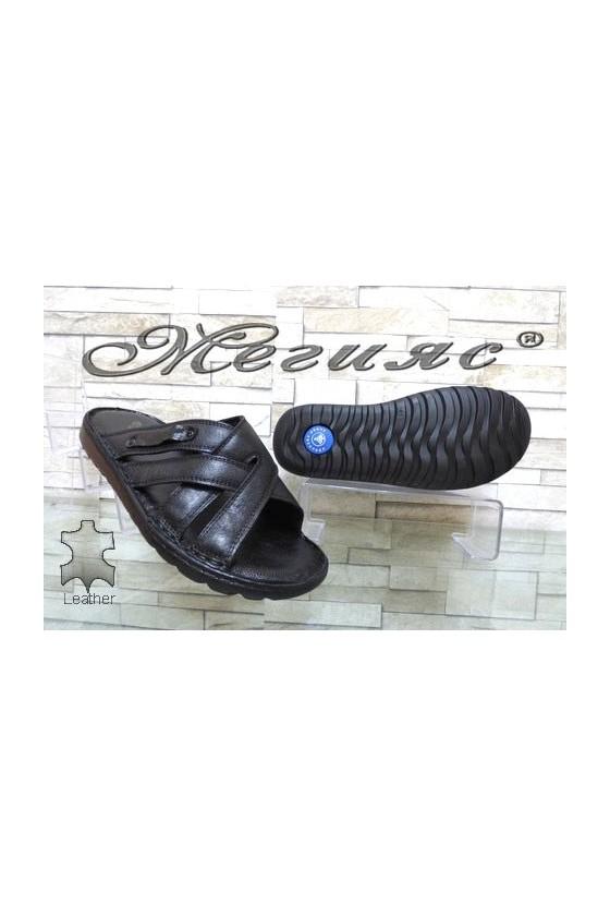 103/01 Мъжки чехли черни от естествена кожа
