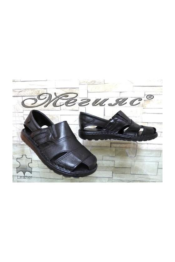 209/01 103/01 XXL Мъжки сандали гигант черни от естествена кожа