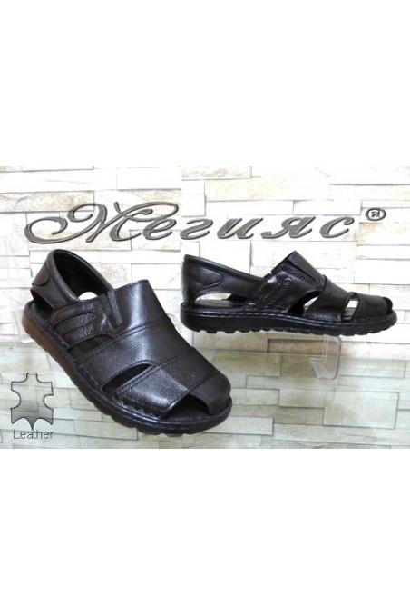 209/01 XXL Мъжки сандали гигант черни от естествена кожа